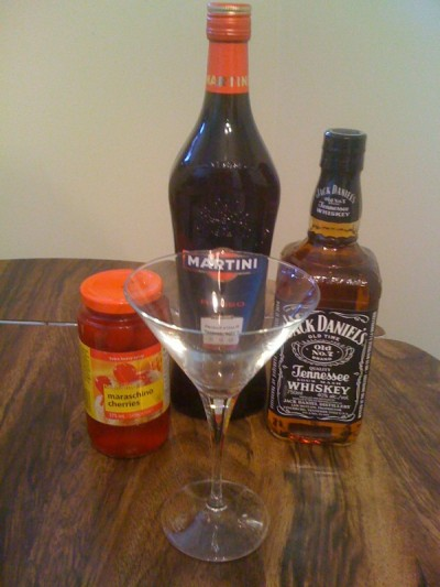 Preparing to make the Classic Manhattan